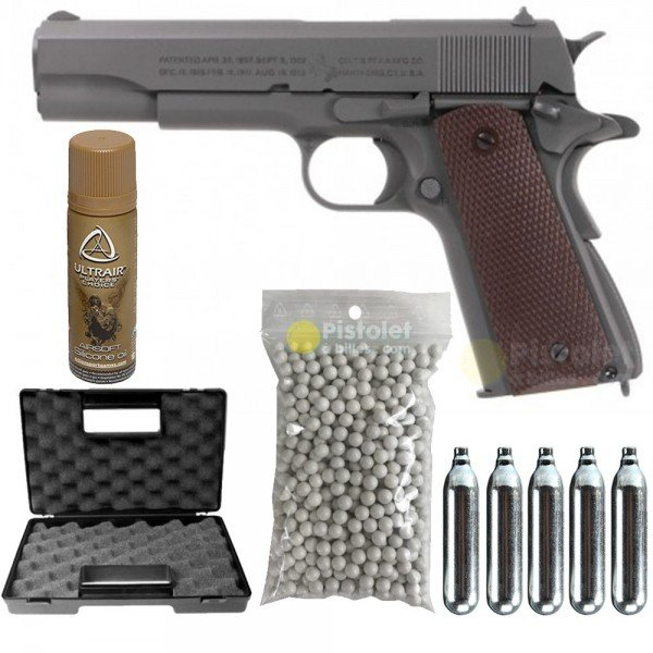 Pack Colt M1911 A1 Parkerized KWC Cybergun Co2 Full métal 180532