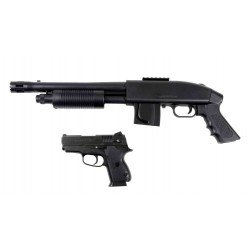 Pack Mossberg 500 grip model + pistol 45 tactical kit cybergun