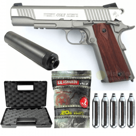 Pack Colt 1911 Rail Gun Stainless Co2